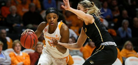 Diamond DeShields #11 of the Tennessee Lady Volunteers during the game between the Missouri Tigers and the Tennessee Lady Volunteers at Thompson-Boling Arena in Knoxville, TN. (Donald Page/Tennessee Athletics)