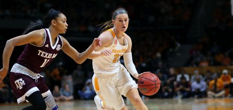 Alexa Middleton #33 of the Tennessee Lady Volunteers during the game between the Texas A&M Aggies and the Tennessee Lady Volunteers at Thompson-Boling Arena in Knoxville, TN. (Donald Page/Tennessee Athletics)