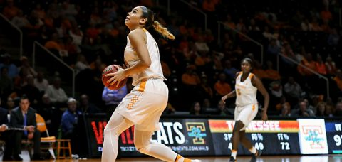 Tennessee Lady Volunteers Schaquilla Nunn #4 scores 15 points and nabs 15 rebounds against Alabama Thursday night. (Donald Page/Tennessee Athletics)