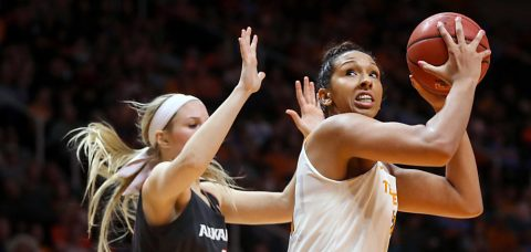 Mercedes Russell #21 of the Tennessee Lady Volunteers during the game between the Arkansas Razorbacks and the Tennessee Lady Volunteers at Thompson-Boling Arena in Knoxville, TN. (Donald Page/Tennessee Athletics)