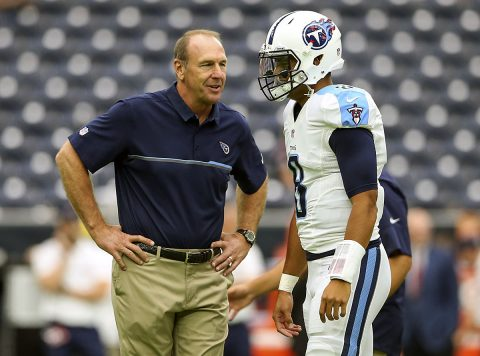 Tennessee Titans head coach Mike Mularkey (left) speaks with quarterback Marcus Mariota (8) before the game against the Houston Texans at NRG Stadium. (Kevin Jairaj-USA TODAY Sports)