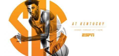 Tuesday's border battle rematch between Tennessee and Kentucky tips off at 6:00pm CT on ESPN. (Tennessee Athletics Department)