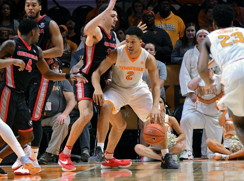 Tennessee Volunteers forward Grant Williams (2) moves the ball against the Georgia Bulldogs during the second half at Thompson-Boling Arena. Georgia won 76 to 75. (Randy Sartin-USA TODAY Sports)