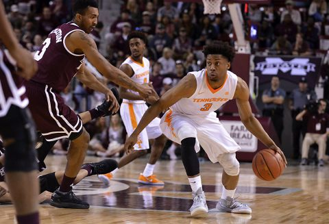 Tennessee Volunteers guard Robert Hubbs III (3) handles the ball during the second half of the game against the Mississippi State Bulldogs at Humphrey Coliseum. Mississippi State won 64-59. (Matt Bush-USA TODAY Sports)