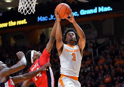 Tennessee Volunteers guard Robert Hubbs III (3) goes to the basket against Mississippi Rebels guard Rasheed Brooks (14) during the first half at Thompson-Boling Arena. (Randy Sartin-USA TODAY Sports)