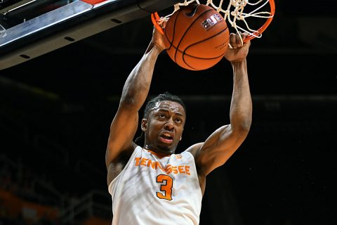 Tennessee Volunteers guard Robert Hubbs III (3) dunks the ball against the Vanderbilt Commodores during the first half at Thompson-Boling Arena. Mandatory (Randy Sartin-USA TODAY Sports)