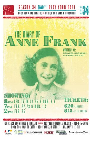 """The Diary of Anne Frank"" at the Roxy Regional Theatre, February 17th - March 4th"