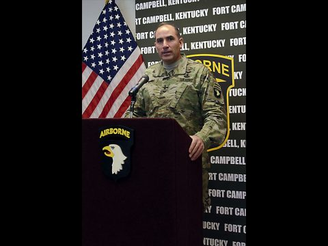 Major Gen. Andrew P. Poppas, commander of the 101st Airborne Division and Fort Campbell, answers questions during a press conference following a congressional delegation visit to post. (Leejay Lockhart, Fort Campbell Public Affairs Office)