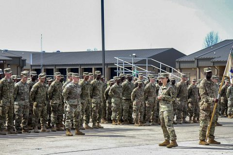 Capt. Amanda Fonk, commander for 227th Quartermaster Company, 129th Combat Sustainment Support Battalion, 101st Airborne Division (Air Assault) Sustainment Brigade, 101st Abn. Div., speaks to her Soldiers and their families, March 20, 2017, before leaving for a nine-month deployment to United States Army Europe in support of Operation Atlantic Resolve. (Sgt. Neysa Canfield/101st Airborne Division Sustainment Brigade Public Affairs)