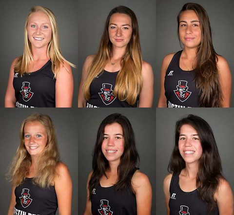 2017 Austin Peay Women's Tennis Team (Top L to R) Ana Albertson, Brittney Covington, Isabela Jovanovic, Helena Kuppig, Alessandra Maganuco, Claudia Yanes Garcia, and Lidia Yanes Garcia. (APSU Sports Information)