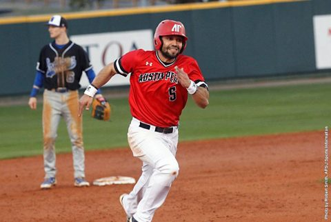 Austin Peay Baseball's Alex Robles hits home run in the third for the Governors only score in 6-1 loss to Evansville, Wednesday. (APSU Sports Information)