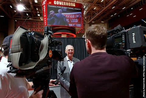 Austin Peay Men's Basketball coach Dave Loos officially announces retirement during Monday press conference at the Dunn Center. (APSU Sports Information)