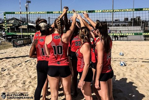 Austin Peay Beach Volleyball kicked off season against New Orleans at UAB Blazer Beach Duals, Saturday. (APSU Sports Information)