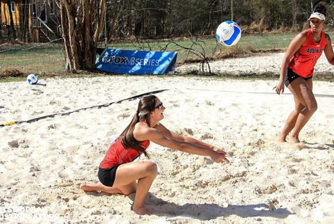Austin Peay Beach Volleyball gets 5-0 sweep of Huntingdon at Badger Beach Bash, Sunday. (APSU Sports Information)