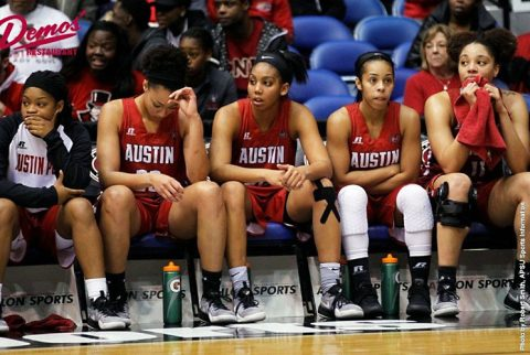 Austin Peay Women's Basketball falls 59-43 to UT Martin Skyhawks Thursday in first round of OVC Tournament in Nashville, TN. (APSU Sports Information)
