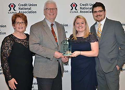 (L to R) Barb and Jack Peplinski and Danielle and Josh Anderson accepted the award for Altra Federal.