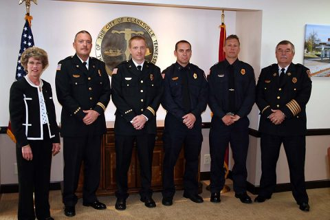 Clarksville Mayor Kim McMillan and Fire Chief Mike Roberts observed the promotion of four Clarksville Fire Rescue officers on Thursday: Assistant Chief Steven Batten; District Chief Scott Owens; Capt. Jeremy Stewart; and Lt. Shawn Darnell.