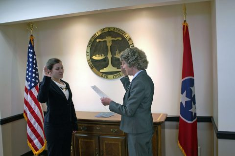 (L) Clarksville Mayor Kim McMillan swears in (R) Brittney Honeycutt.