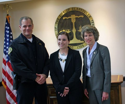 (L to R) Clarksville Police Chief Al Ansley, Brittney Honeycutt, and Clarksville Mayor Kim McMillan.