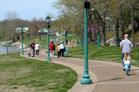 The City of Clarksville's busy parks system, like this stretch of the RiverWalk, offers plenty of seasonal and part-time job opportunities for local residents.