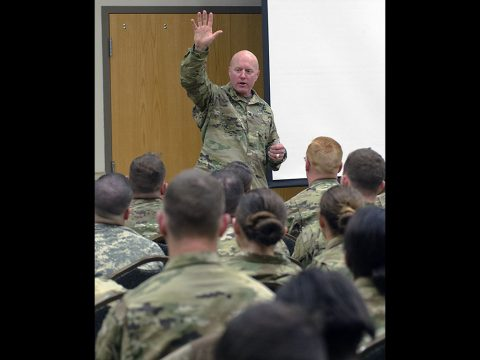 Chaplain (Col.) John Murphy, garrison chaplain, addresses Soldiers at the newcomers brief Feb. 16, 2017, at the Family Resource Center. During the brief Soldiers and their spouses learn about expectations and resources available to them at Fort Campbell. (Leejay Lockhart, Fort Campbell Public Affairs Office)