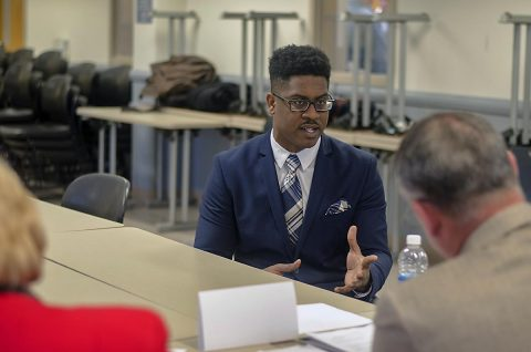 Specialist Avery Harbin, a Soldier assigned to the Warrior Transition Battalion, participates in a mock interview with local business and political leaders March 16, 2017, at Fort Campbell. On Harbin's panel was Jim Durrett, Montgomery County, mayor, Mariah Carey, human resources director with Lowes and Connie Freeman, executive assistant to the chief executive officer at 1st Advantage Bank. (Leejay Lockhart, Fort Campbell Public Affairs Office)