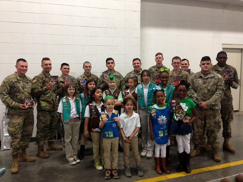 Girl Scouts with Fort Campbell soldiers on March 17th.