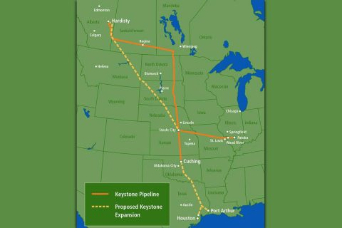 Keystone XL pipeline project map