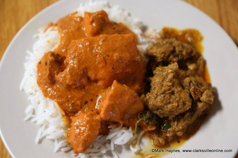Butter Chicken on Basmati Rice with Chicken Curry on the side.