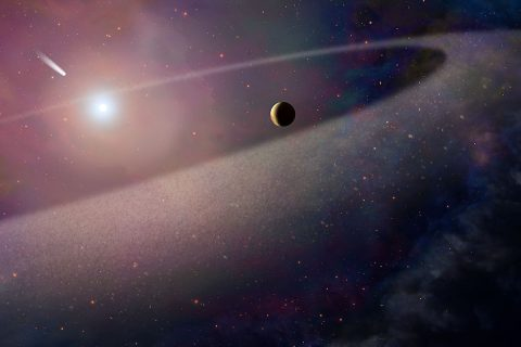 This artist's concept shows a massive, comet-like object falling toward a white dwarf. New Hubble Space Telescope findings are evidence for a belt of comet-like bodies orbiting the white dwarf, similar to our solar system's Kuiper Belt. The findings also suggest the presence of one or more unseen surviving planets around the white dwarf, which may have perturbed the belt to hurl icy objects into the burned-out star. (NASA, ESA, and Z. Levy (STScI))