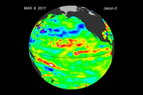 Data collected Feb. 28 - March 12, 2017, by the U.S./European Jason-3 satellite show near-normal ocean surface heights in green, warmer areas in red and colder areas in blue. Ocean surface height is related in part to its temperature, and thus is an indicator of how much heat is stored in the upper ocean. (NASA/JPL-Caltech)