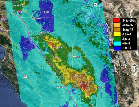Total subsidence in California's San Joaquin Valley between May 7, 2015 and Sept. 10, 2016, as measured by ESA's Sentinel-1A and processed at JPL. Two large subsidence bowls are evident, centered on Corcoran and southeast of El Nido, with a small, new feature between them, near Tranquility. (European Space Agency/NASA-JPL/Caltech/Google Earth)