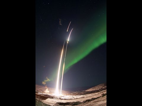 Two NASA sounding rockets are launched 90-seconds apart into an active aurora from the Poker Flat Research Range in Alaska. (NASA/Terry Zaperach)