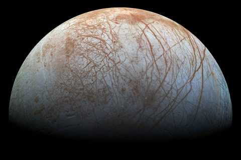 The puzzling, fascinating surface of Jupiter's icy moon Europa looms large in this reprocessed color view, made from images taken by NASA's Galileo spacecraft in the late 1990s. (NASA/JPL-Caltech/SETI Institute)