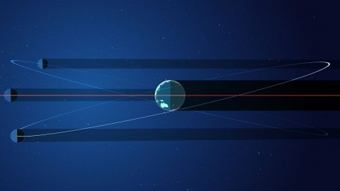 When the moon's orbit around Earth lines up on the same plane as Earth's orbit around the sun, its shadow is cast across the planet. (NASA's Goddard Space Flight Center/Genna Duberstein)