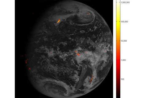 This is one hour of GOES-16's Geostationary Lightning Mapper (GLM) lightning data from Feb. 14, when GLM acquired 1.8 million images of the Earth. It is displayed over GOES-16 ABI full disk Band 2 imagery. Brighter colors indicate more lightning energy was recorded; color bar units are the calculated kilowatt-hours of total optical emissions from lightning. This is preliminary, non-operational data. (NOAA/NASA)