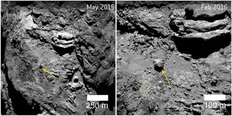 A 100 foot-wide (30 meter), 28-million-pound (12.8-million-kilogram) boulder, was found to have moved 460 feet (140 meters) on comet 67P/Churyumov-Gerasimenko in the lead up to perihelion in August 2015, when the comet's activity was at its highest. (ESA/Rosetta/MPS for OSIRIS Team MPS/UPD/LAM/IAA/SSO/INTA/UPM/DASP/IDA)