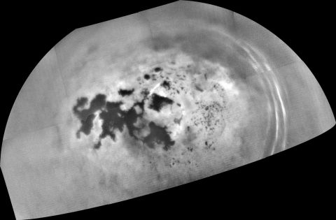 Cassini captured this mosaic of images showing the northern lakes and seas of Saturn's moon Titan on Feb. 17, 2017. The mission's final close Titan flyby is planned for April 22. (NASA/JPL-Caltech/Space Science Institute)