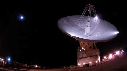 """DSS-14 is NASA's 70-meter (230-foot) antenna located at the Goldstone Deep Space Communications Complex in California. It is known as the """"Mars Antenna"""" as it was first to receive signals from the first spacecraft to closely observe Mars, Mariner 4, on March 18, 1966. (NASA/JPL-Caltech)"""