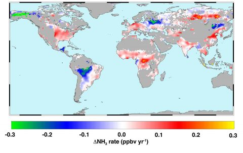 Global atmospheric ammonia trends measured from space from 2002 to 2016. Hot colors represent increases from a combination of increased fertilizer application, reduced scavenging by acid aerosols and climate warming. Cool colors show decreases due to reduced agricultural burning or fewer wildfires. (Juying Warner/GRL)