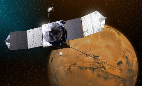This artist's sketch shows NASA's MAVEN spacecraft above Mars. (NASA)