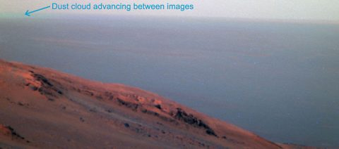 This false-color scene from the panoramic camera (Pancam) on NASA's Mars Exploration Rover Opportunity documents movement of dust as a regional dust storm approached the rover's location on Feb. 24, 2017, during the 4,653rd Martian day, or sol, of the rover's work on Mars. (NASA/JPL-Caltech/Cornell/ASU)