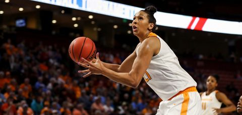Mercedes Russell scored 16 points and 12 rebounds in Tennessee Lady Vols 72-64 loss to Alabama Thursday in SEC Tournament. (By Donald Page/Tennessee Athletics)