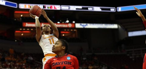 #11 Diamond DeShields scored 24 points and Mercedes Russell and Schaquilla Nunn posted double-doubles to lead Tennessee Lady Vols to a 66-57 win over Dayton on Saturday in the first round of the 2017 NCAA Women's Basketball Tournament at the KFC Yum! Center. (Austin Perryman/Tennessee Athletics)