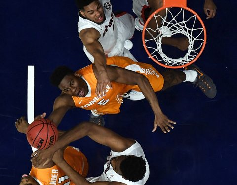 Tennessee Volunteers forward Admiral Schofield (5) battles for a rebound against the Georgia Bulldogs during the SEC Conference Tournament at Bridgestone Arena. Georgia won 59-57. (Christopher Hanewinckel-USA TODAY Sports)