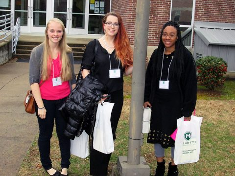 APSU Students Hannah McGinnity, Malena Landon and Shelia Johnson present at annual Tennessee Collegiate Honors Council Conference.