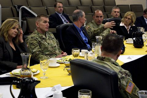 "Maj. Gen. Andrew P. Poppas, 101st Airborne Division (Air Assault) commander, speaks to Rep. Marsha Blackburn, Chairman of the Subcommittee on Communications and Technology, Rep. William ""Mac"" Thornberry, Chairman of the House Armed Services Committee and Rep. Diane Black, Chairman of the House Budget Committee about logistical and manning challenges in the brigade due to sequestration during a tour Mar. 7, 2017 at Ft. Campbell, Kentucky. (Sgt. William White, 101st Airborne Division Public Affairs)"