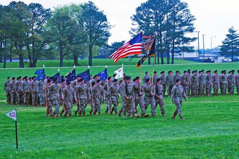 Soldiers from 1st Battalion, 26th Infantry Regiment, 2nd Brigade Combat Team, 101st Airborne Division (Air Assault) march with their unit colors during their battalion's change of responsibility ceremony, Apr. 18, 2017, at Fort Campbell, Kentucky. The unit, historically part of the 1st Infantry Division, was reactivated at Fort Campbell in April of 2015. In May of 2016 they deployed as part of 2nd BCT to Iraq in support of Operation Inherent Resolve. (1st Lt. Daniel Johnson)