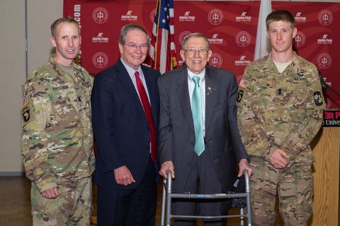 Cadet Zachary C. Lepley is honored with the 2017 CSM Darol Walker Award on Thursday, April 27, 2017 at Austin Peay State University. (Cassidy Graves, APSU)