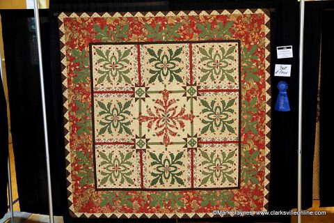 """Kathern Parker & Sandra Fusco won Best of Show at the 2017 Quilts of the Cumberland Show with her entry """"Christmas Cactus""""."""